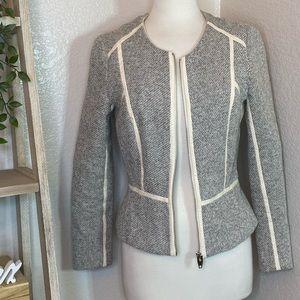H&M Gray Cream Textured Blazer